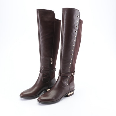 Vince Camuto Studded Brown Leather and Suede Riding Boots