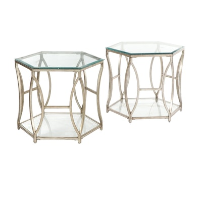 Pair of Contemporary Hexagonal Glass Top Metal End Tables