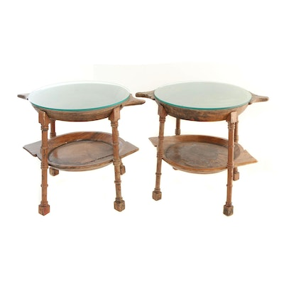 Pair of Custom-Made Two-Tier Side Tables with Provincial Wooden Trays