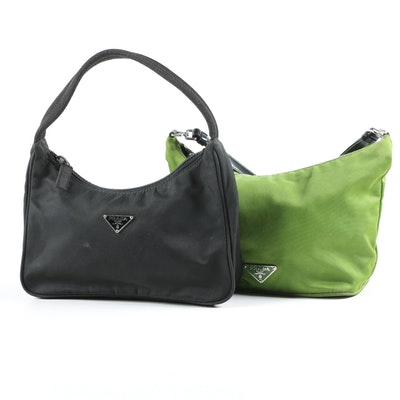 Prada Demi Handbag and Pouchette in Green and Black Nylon