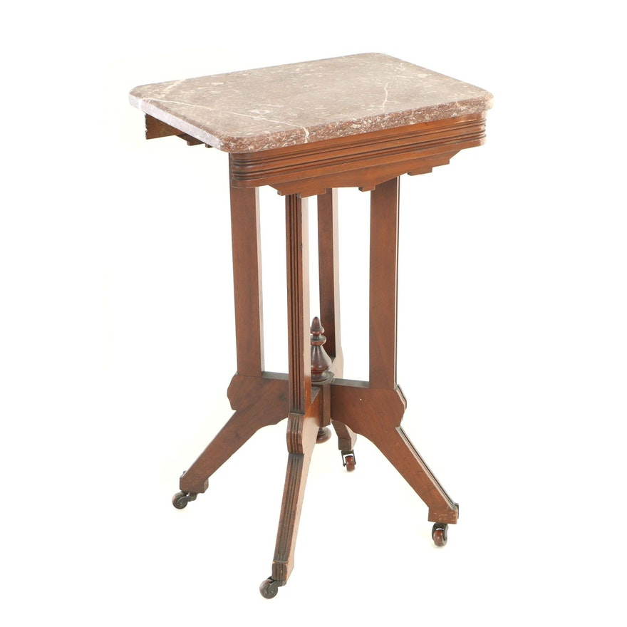 Victorian Walnut and Red Marble Side Table, Late 19th Century