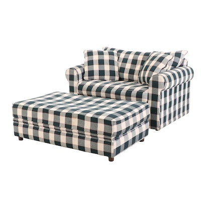 Hickory Springs Oversized Chair with Pull Out Twin Size Bed and Storage Ottoman