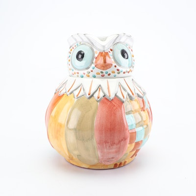 MacKenzie-Childs Hand-Painted Earthenware Owl Cookie Jar, Contemporary
