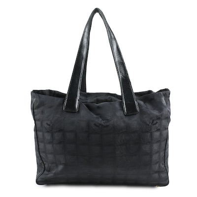 Chanel Travel Tote in CC Woven Black Nylon and Leather