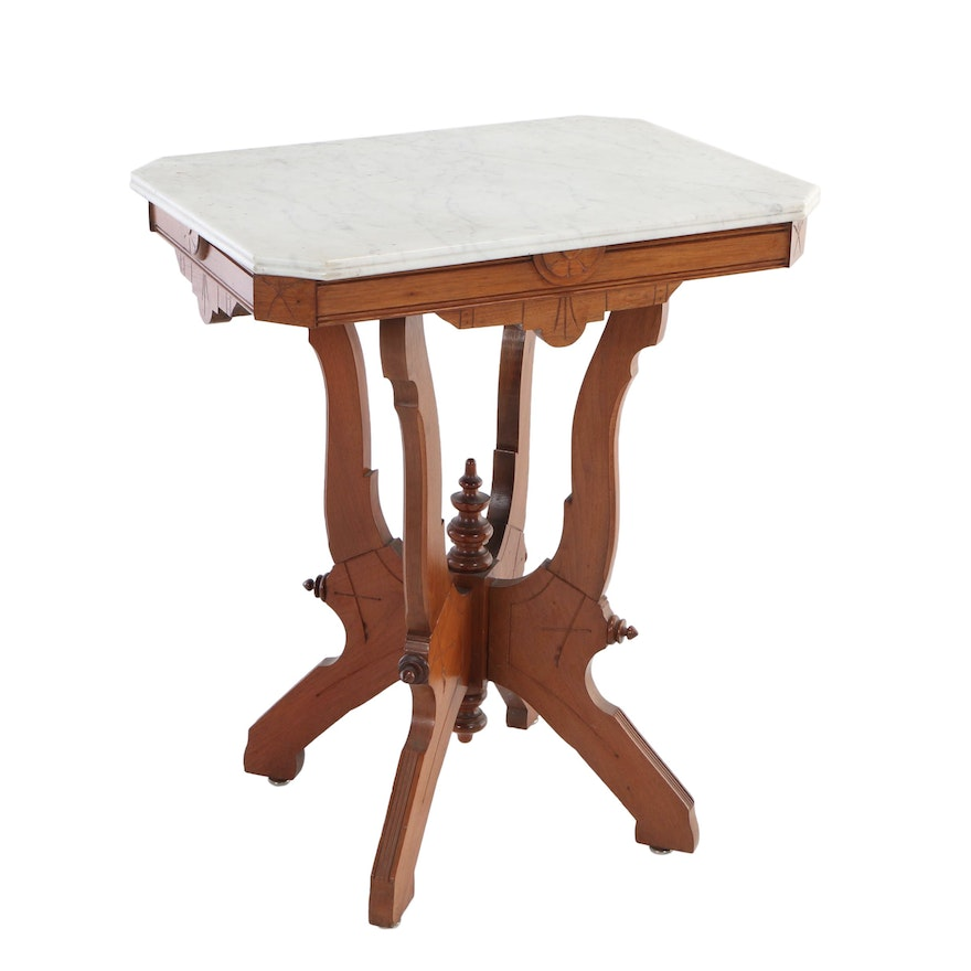 Victorian Walnut and White Marble Side Table, Late 19th Century