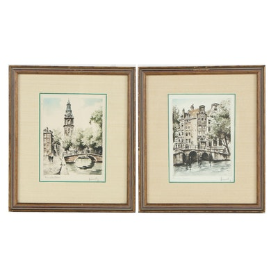 Colored Etchings of Amsterdam