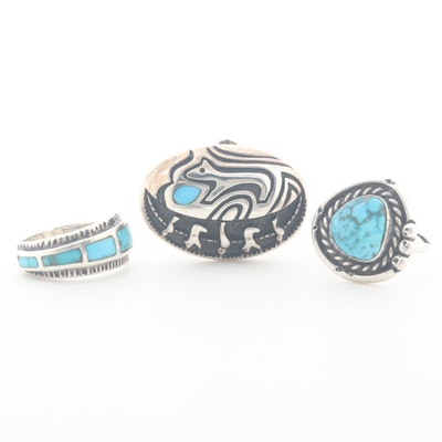 Southwestern Style Sterling Silver Turquoise and Stabil Turquoise Rings