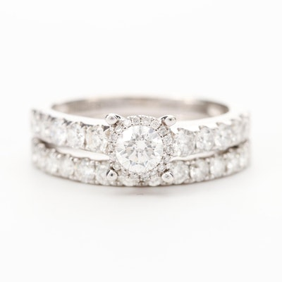 14K White Gold 1.40 CTW Diamond Ring and Band