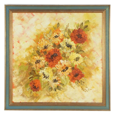 Late 20th Century Floral Oil Painting