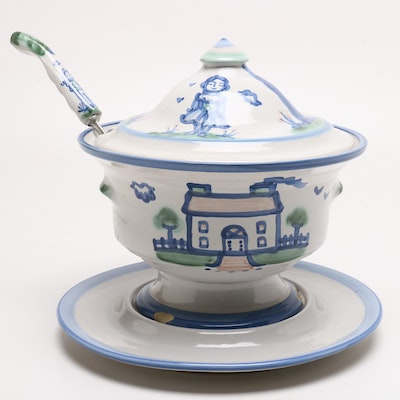 "M. A. Hadley Stoneware ""Country Scene Blue"" Soup Tureen and Ladle"