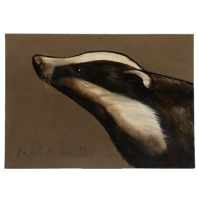 David Andrews 2019 Badger Portrait Oil Painting