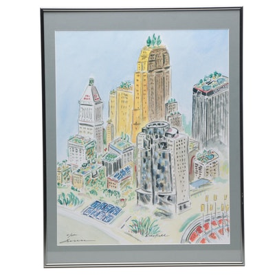Beverly Erschell Offset Lithograph of Cincinnati Skyline