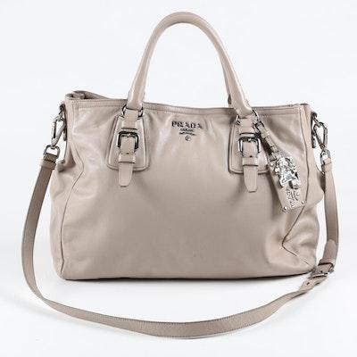 Prada Gray Leather Tote Bag with Adjustable Shoulder Strap