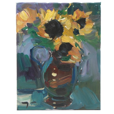 "Jose Trujillo Oil Painting ""Sunflowers"""