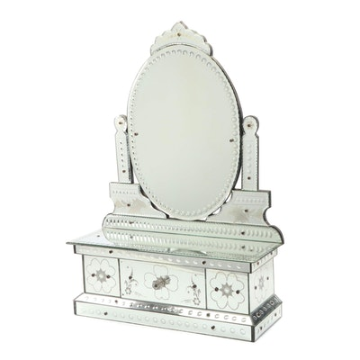 Venetian Tabletop Vanity Mirror with Storage, Mid to Late 20th Century