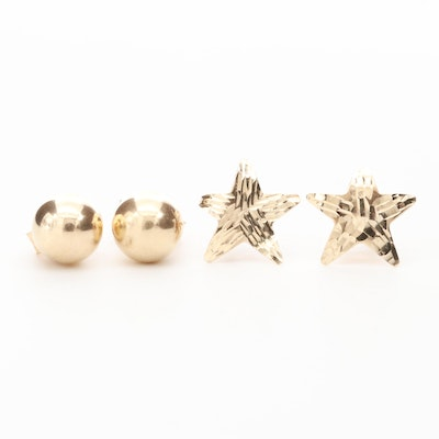 14K Yellow Gold Star and Orb Stud Earrings
