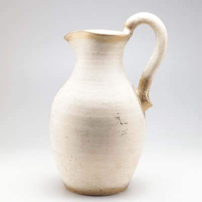 Pitcher Form Earthenware Floor Vase with Distressed Finish