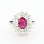 10K White Gold 2.12 CT Ruby and 1.64 CTW Diamond Ring