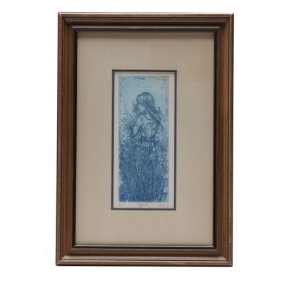 """Mary Vickers Etching """"April"""""""