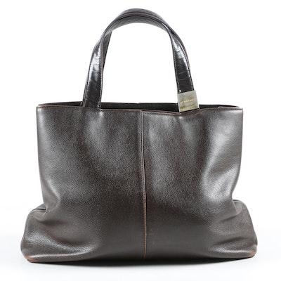 Burberry Tote Bag in Dark Brown Grained Leather, Vintage