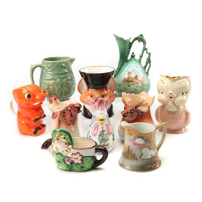 Hand-Painted Earthenware Pitchers Featuring Deruta and McCoy