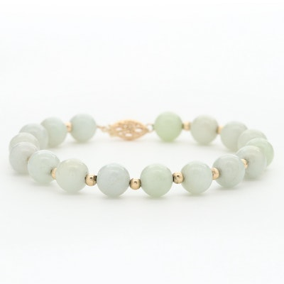 14K Yellow Gold Jadeite Beaded Bracelet