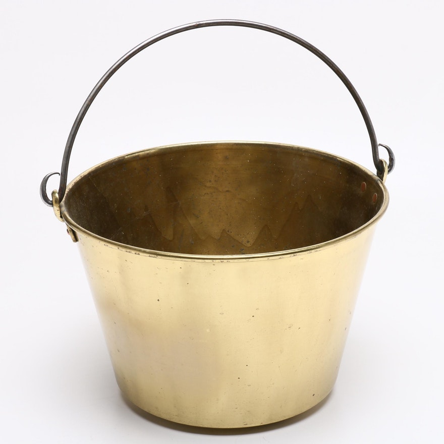 Spun Brass and Iron-Handled Bucket with Copper Rivets, Early to Mid 19th Century
