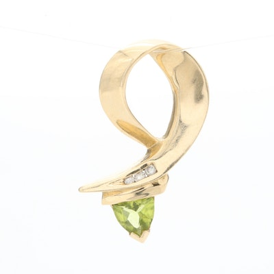Vintage 14K Yellow Gold Peridot and Diamond Pendant