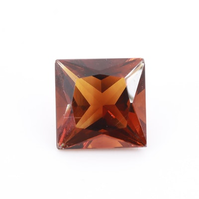 Loose 7.22 CT Square Faceted Garnet Gemstone