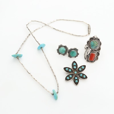 Southwestern Style Sterling Silver Turquoise Jewelry Including Coral