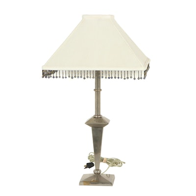 Contemporary Metal Table Lamp with Beaded Shade