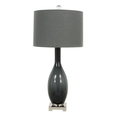Contemporary Smoky Glass Table Lamp
