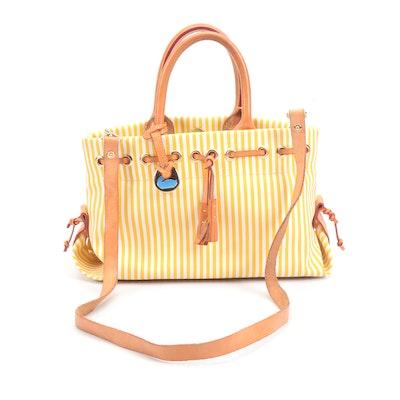 Dooney & Bourke Striped Coated Canvas Convertible Handbag