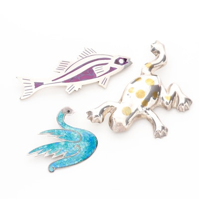 Mexico Sterling Silver Animal Motif Brooches Including Purple and Blue Enamel