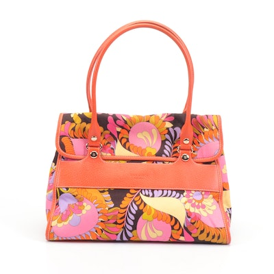 Kate Spade New York Orange and Multicolor Floral Flap Front Tote Bag