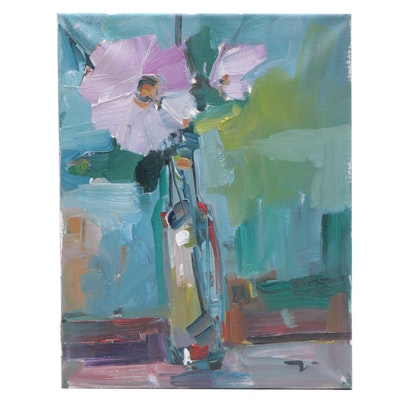 "Jose Trujillo Oil Painting ""Pink Daisies"""