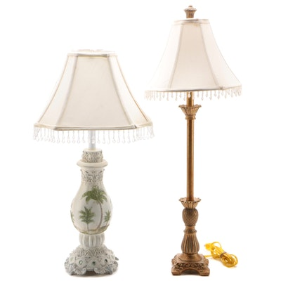Contemporary Tropical Themed Table Lamps with Beaded Shades