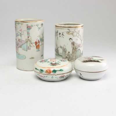 Chinese Hand-Painted Porcelain Brush Holders and Ink Paste Boxes, Republic