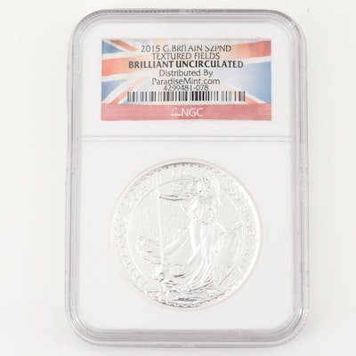 NGC Graded Brilliant Uncirculated 2015 £2 Brittania Silver Coin