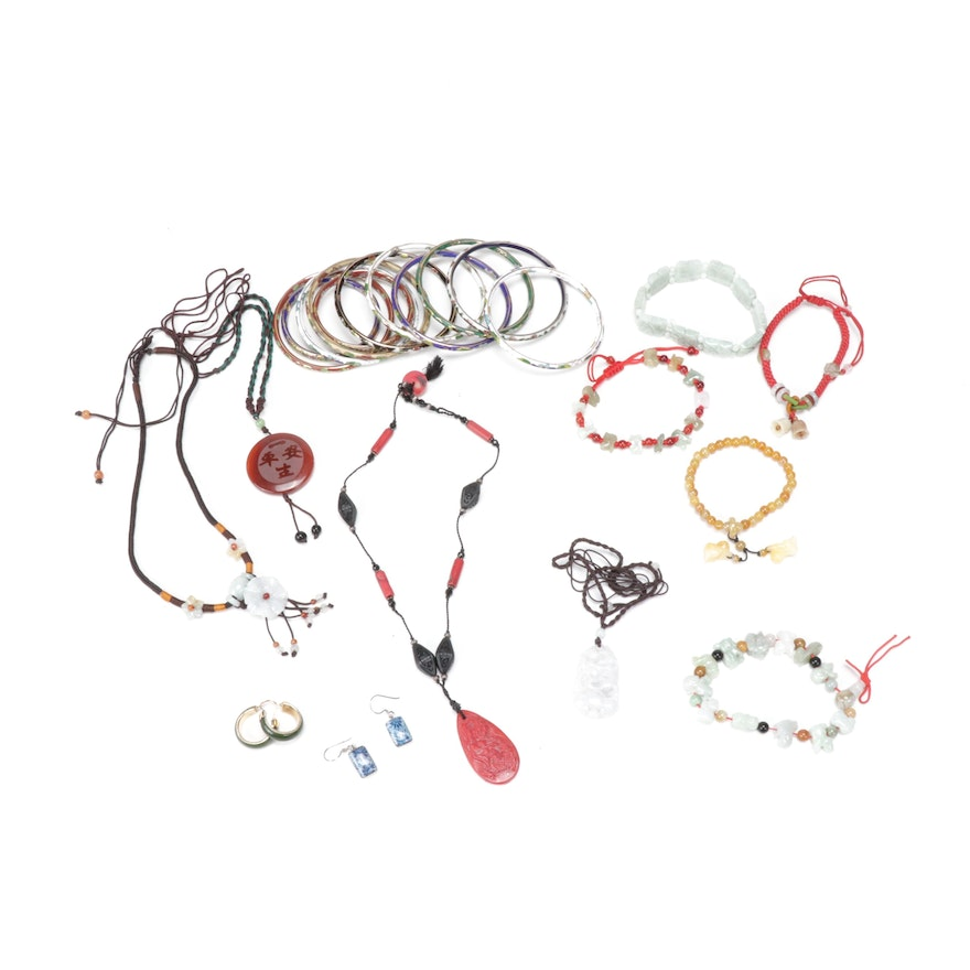 East Asian Style Jewelry Including Gemstones and Sterling Silver