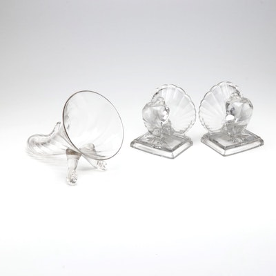 Glass Thanksgiving Decorative Bookends and Vase