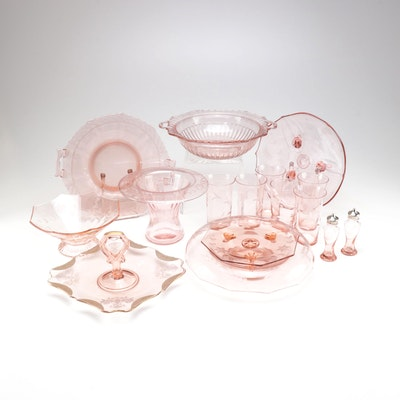 Pink Depression Glass Serveware and Glasses