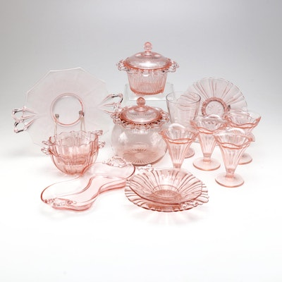 Pink Depression Glass Tableware