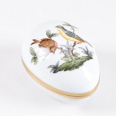 "Herend ""Rothschild Bird"" 150th Anniversary Porcelain Egg Trinket Box, Vintage"