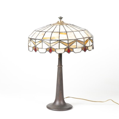 Cast Metal Table Lamp with Slag Glass Shade, Vintage