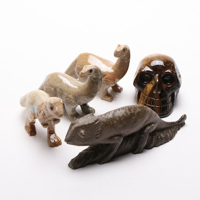 Soapstone and Serpentine Animal Figurines and Tiger's Eye Skull Figurine