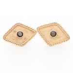 Vintage 14K Yellow Gold Black Star Sapphire Cuff Links