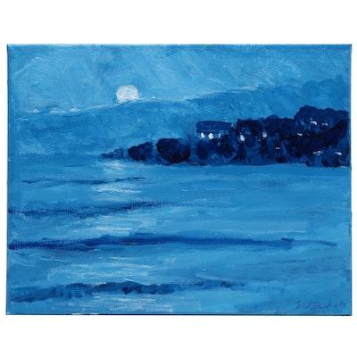"Will Becker Acrylic Painting ""Rising Moon and Lake"""