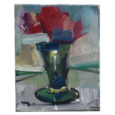 "Jose Trujillo Oil Painting ""Little Peony"""