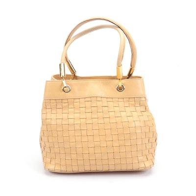 Barbara Milano Tan Woven Italian Leather Handbag